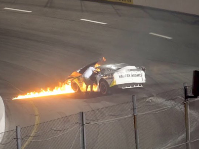 Dad Runs Onto Racetrack To Pull His Son From A Burning Car 💪💪💪