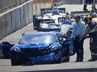 GM Exec Crashes Corvette Into Wall Before Race Starts 😂😂😂
