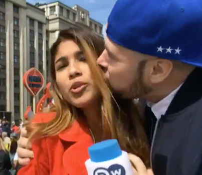 World Cup Reporter Gets Kissed & Her Breast Grabbed While On Air 😤😤😤