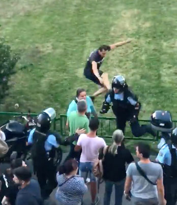 F**k The Police: Romanian Protestor Drop Kicks A Cop Who Attacked Him 😂💀