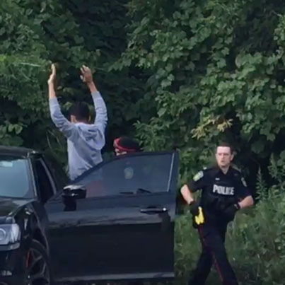 Meanwhile In Brampton: Waste Yute Crashes Stolen Vehicle Into Police Cruiser 😂😂😂💀💀