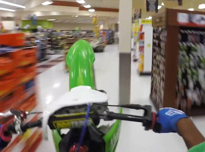 Waste Man Rides His Dirt Bike Through A Grocery Store 😂😂😂