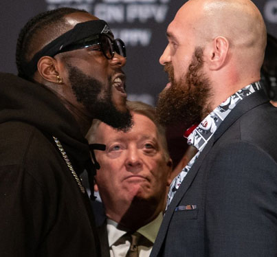 Tyson Fury & Deontay Wilder Get Physical @ Final Press Conference Staredown 😂😂😂