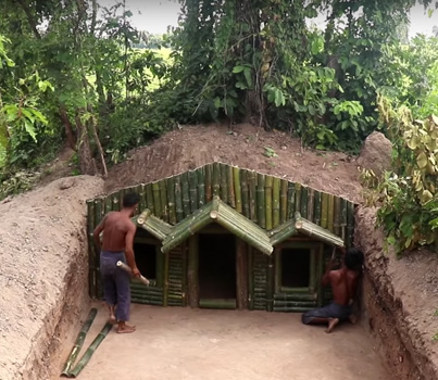 Two Men Build A Bamboo House From Scratch 😗👍👏
